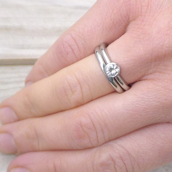 White Sapphire Ring Set on the hand