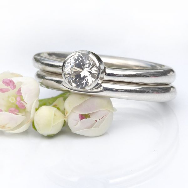 white sapphire silver ring set