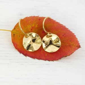 Hammered Disc Earrings in 18ct Gold