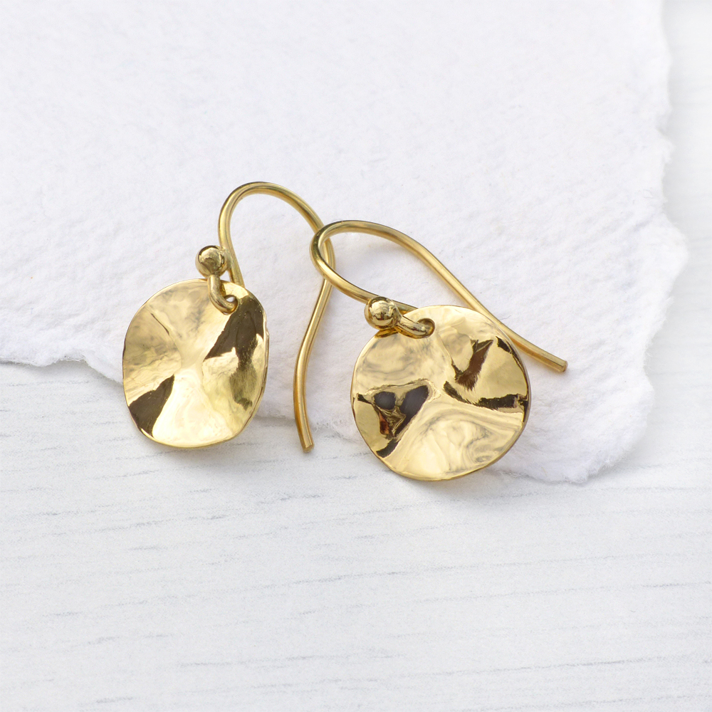 18ct gold Disc Earrings with crinkle effec