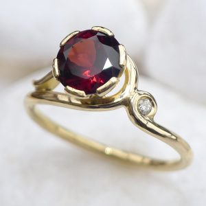 Garnet Gold Ring with Diamond Accent