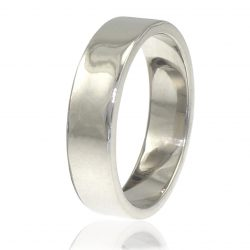 Wide Men's Wedding Band in 18ct White Gold