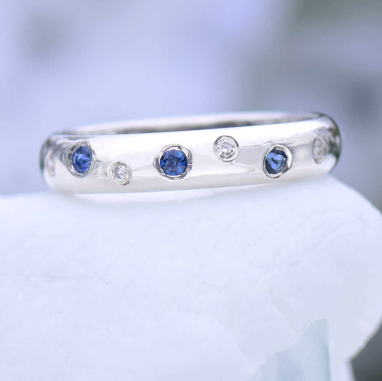 It is just an image of Sterling Silver Blue Sapphire and Fair Trade Diamond Ring