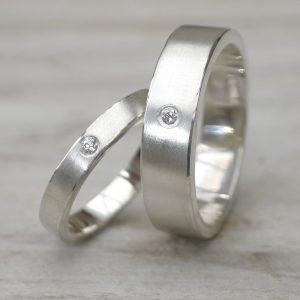 His and Hers Diamond Silver Wedding Ring Set