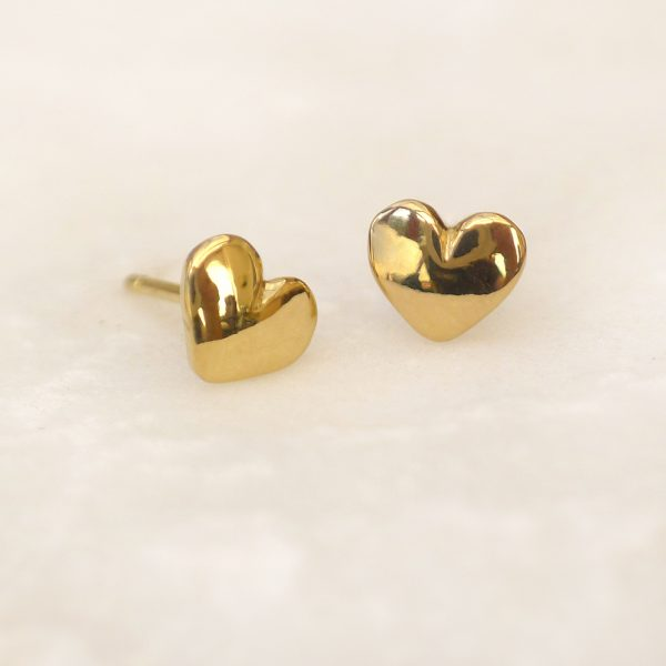 Mini Heart Earrings in 18ct Gold
