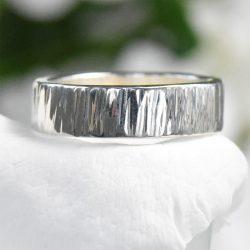 tree bark silver ring