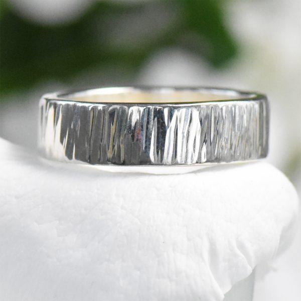 tree bark silver ring