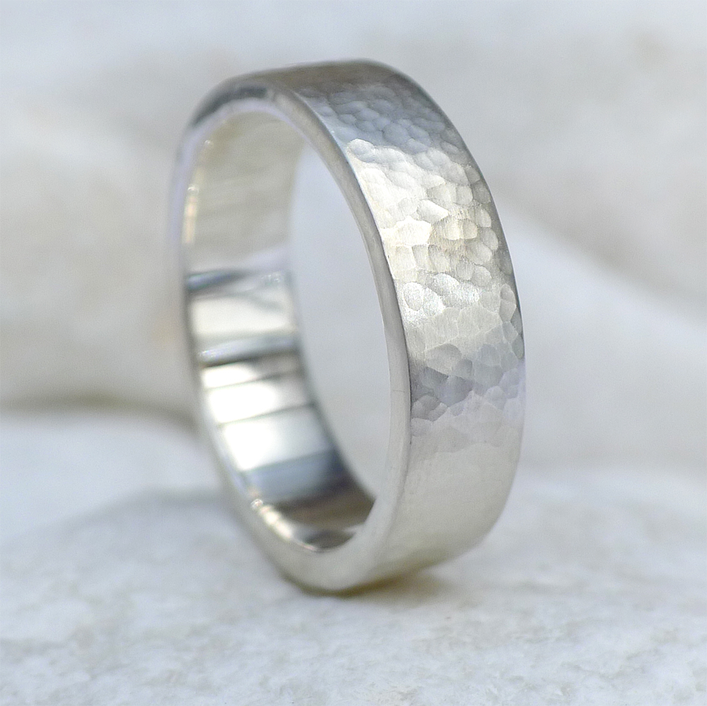 mm flat hammered wedding ring in sterling silver lilia nash