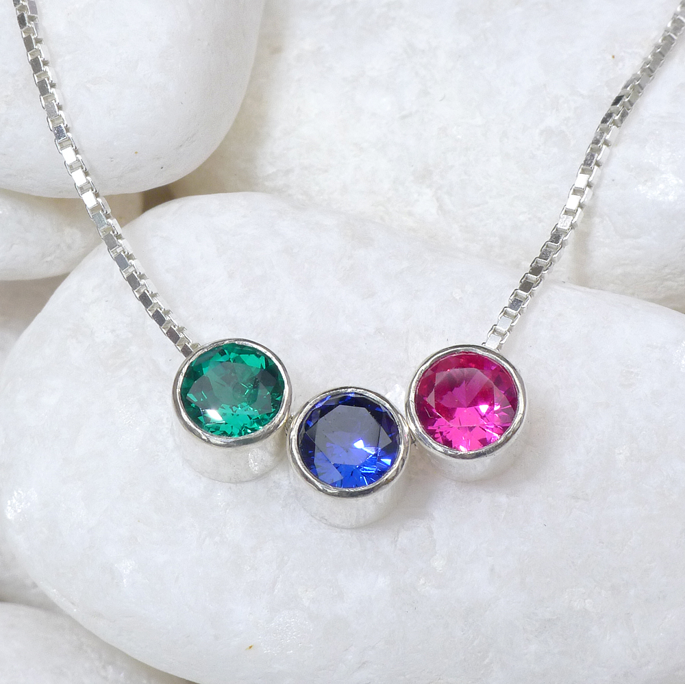 Birthstone Necklace with Emerald, Sapphire and Ruby
