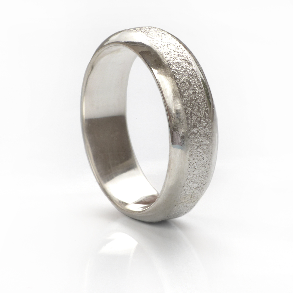concrete texture silver ring