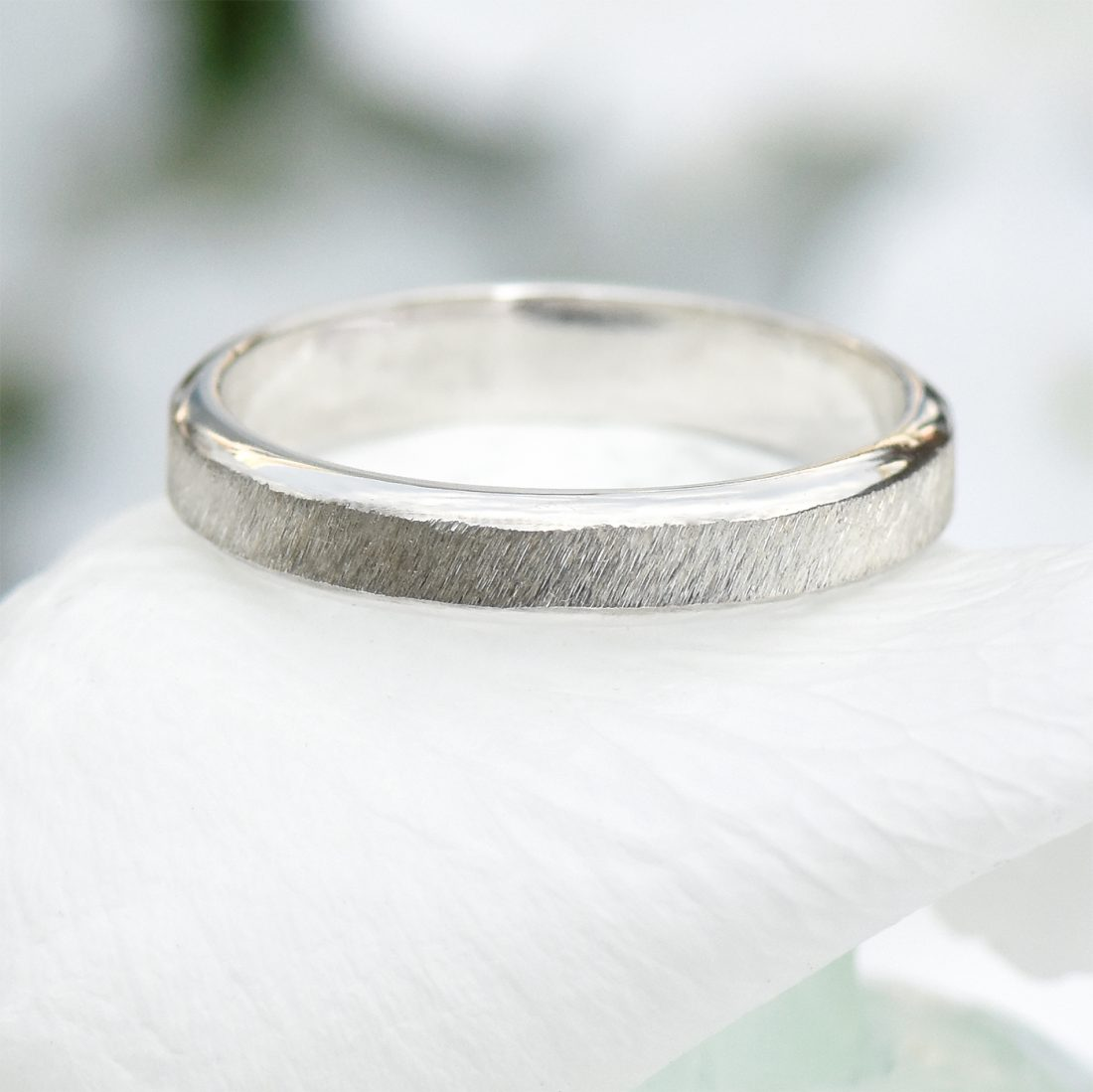 diamond cut silver ring
