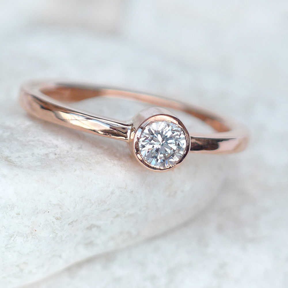 rough ring media diamond raw free rings conflict uncut anniversary april birthstone engagement rose gemstone ethical gold