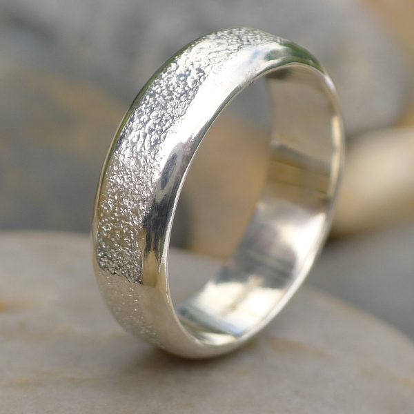 Concrete Texture Men's Silver Ring