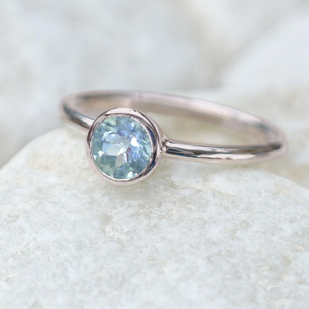 Aquamarine Solitaire Ring In 18ct White Gold Gemstone