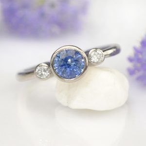 Blue Sapphire Engagement Ring with Diamonds
