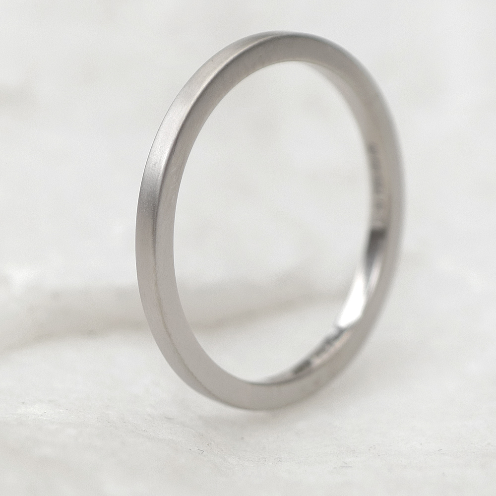 Square Wedding Ring in 18ct White Gold