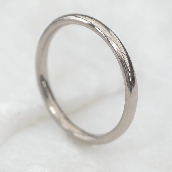 2mm Comfort-fit Wedding Ring in 18ct White Gold