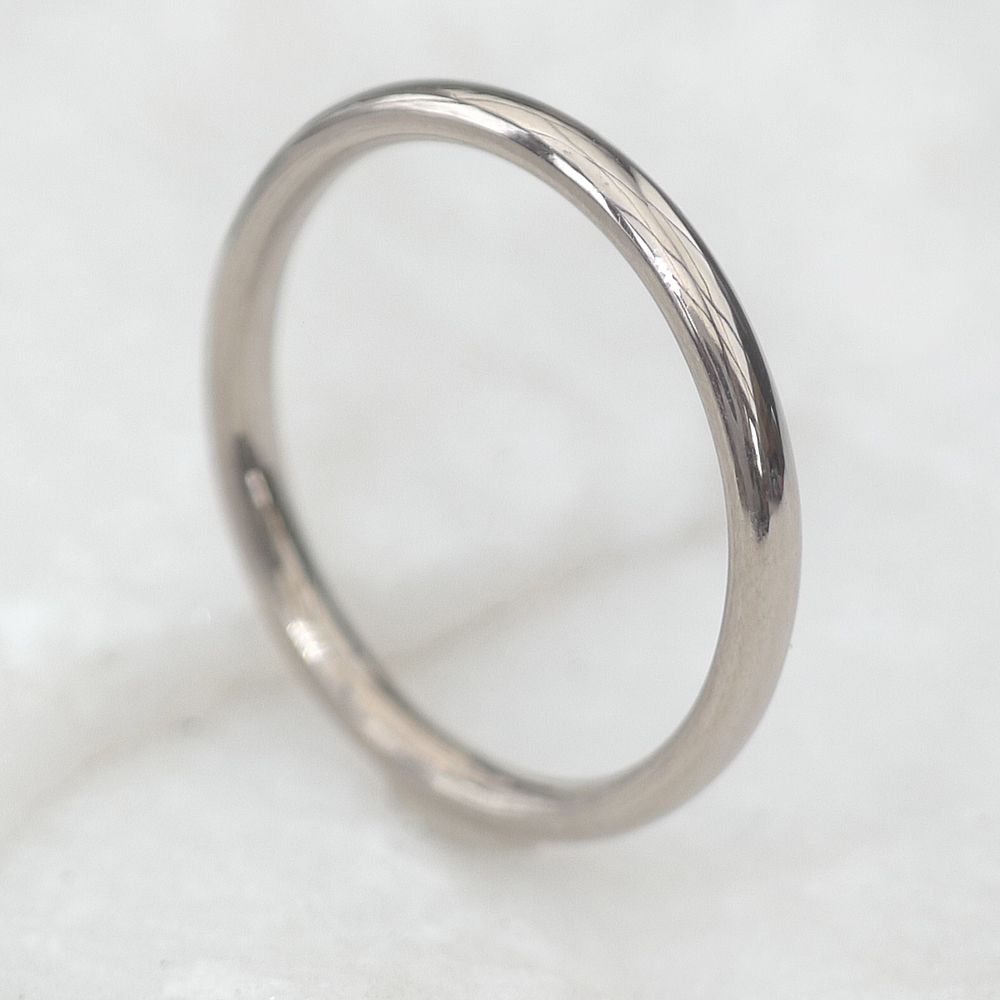 2mm half wedding ring in 18ct white gold or platinum