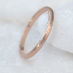Hammered Wedding Ring in 18ct Rose Gold