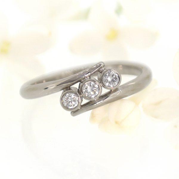 Triple Diamond Engagement Ring
