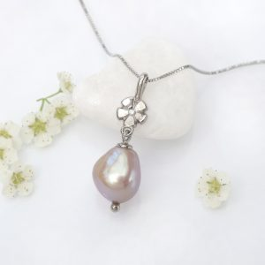 Pearl Drop Pendant in 18ct White Gold
