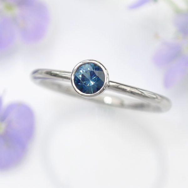 Blue Sapphire Platinum Engagement Ring
