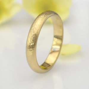 Men's Hammered 18ct Yellow Gold Wedding Ring