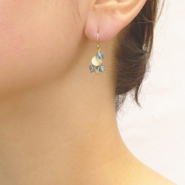 Blue Topaz Earrings in 18ct Gold (in the ear)