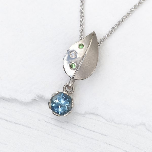 Aquamarine Leaf Pendant in 18ct White Gold