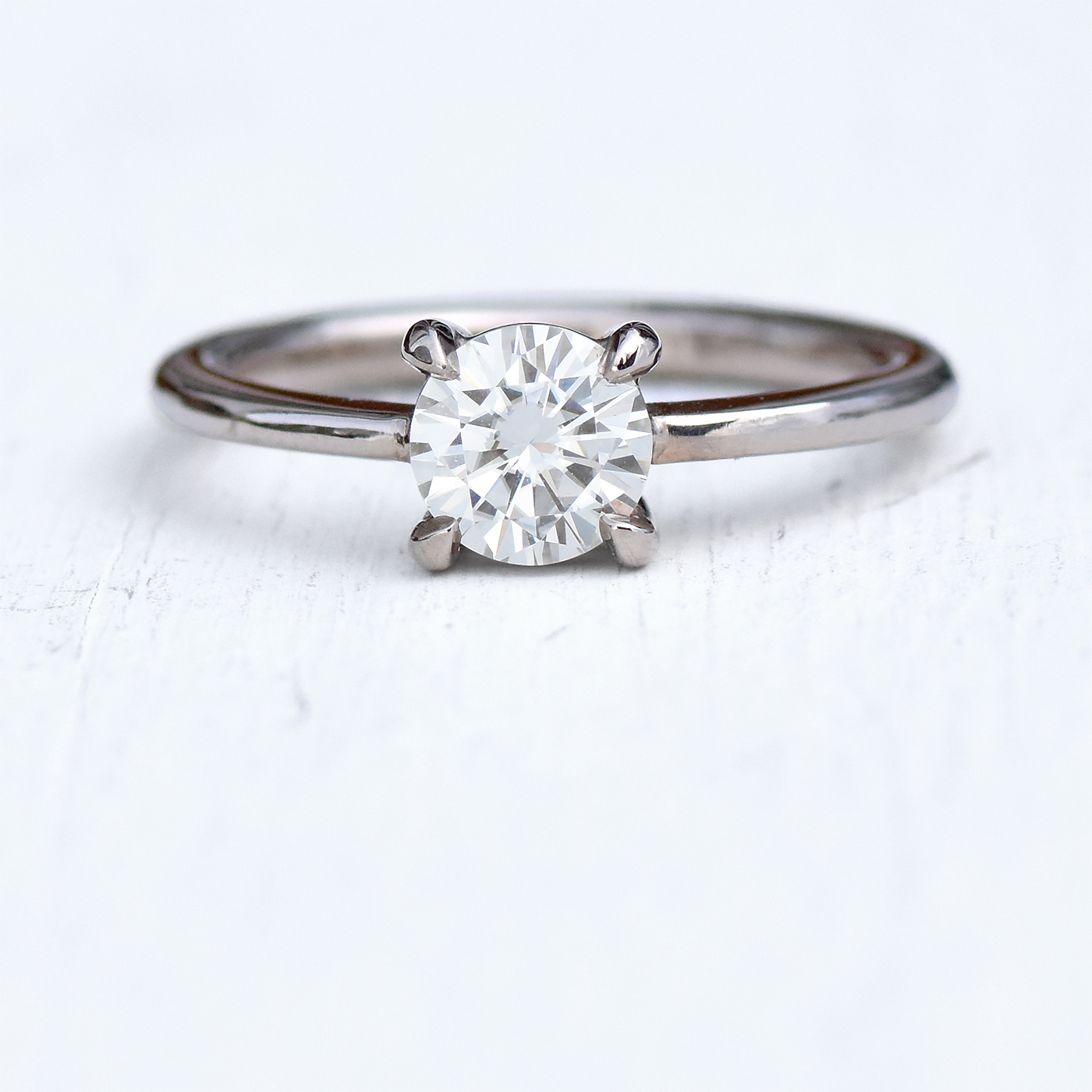 Moissanite Solitaire Engagement Ring (18ct Gold Or White