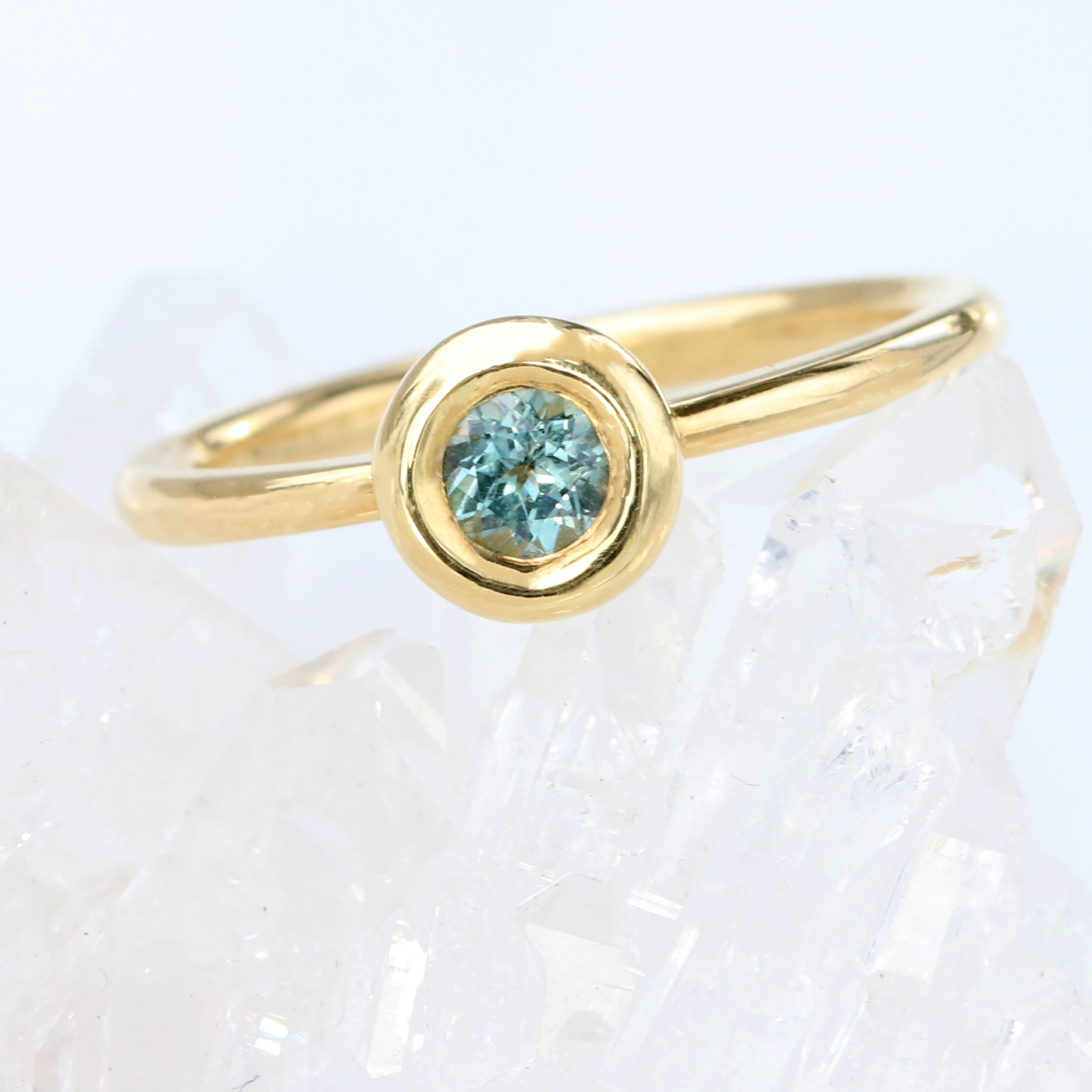 18ct Gold Fair Trade Teal Sapphire Aura Ring, Size N (can be resized K to Q)