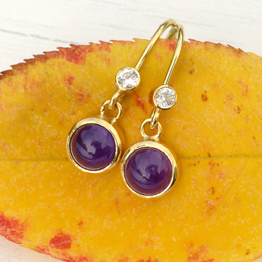 Amethyst and White Sapphire Earrings in 18ct Gold
