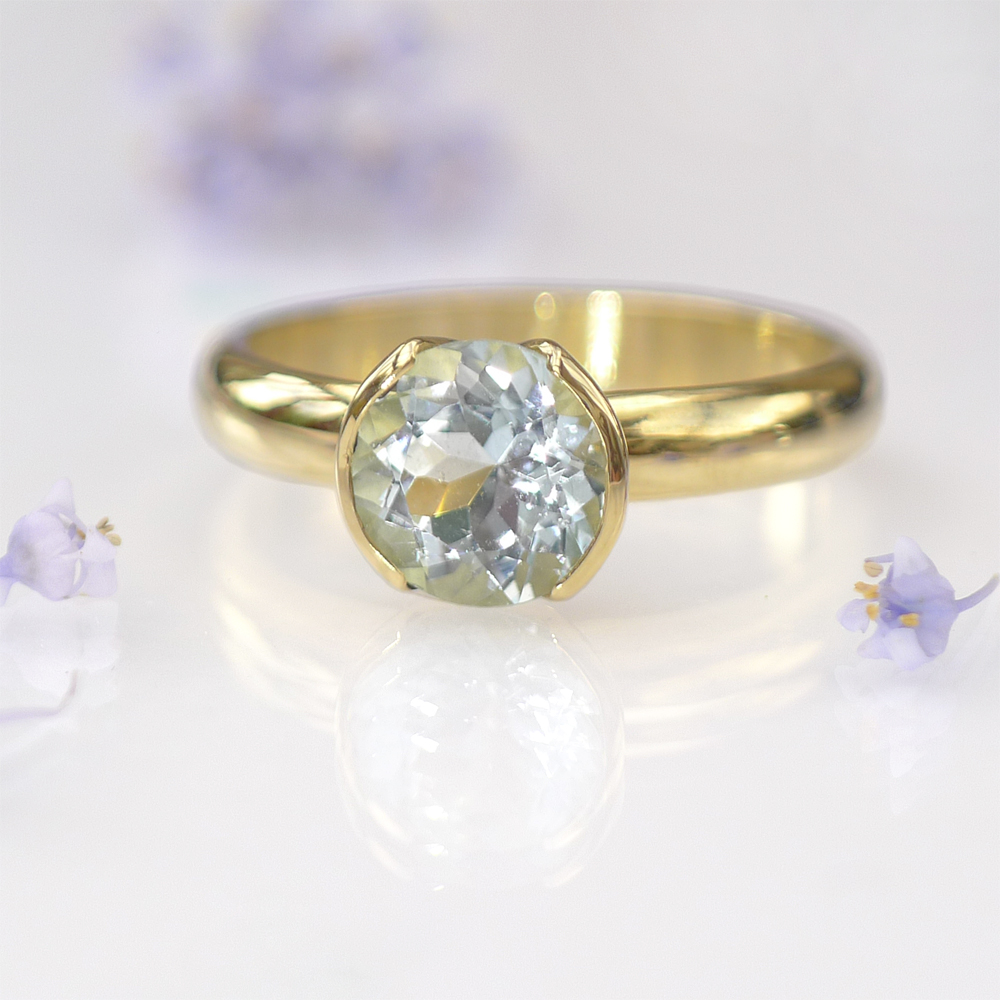 Aquamarine Ring in Tulip Design in 18ct Gold or Platinum ...
