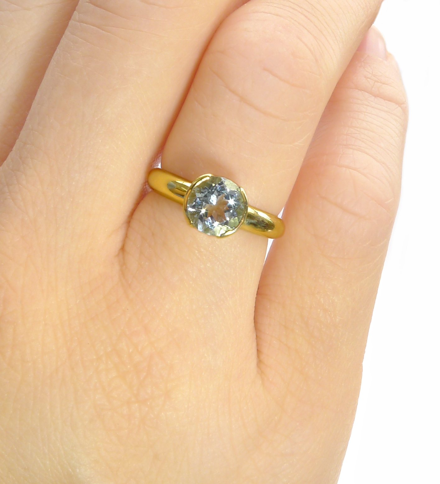 Aquamarine Ring in Tulip Design in 18ct Gold or Platinum