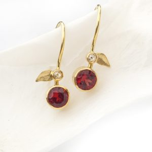 garnet leaf drop earrings