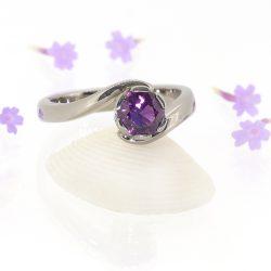 Purple Sapphire Ring in Swirl Design