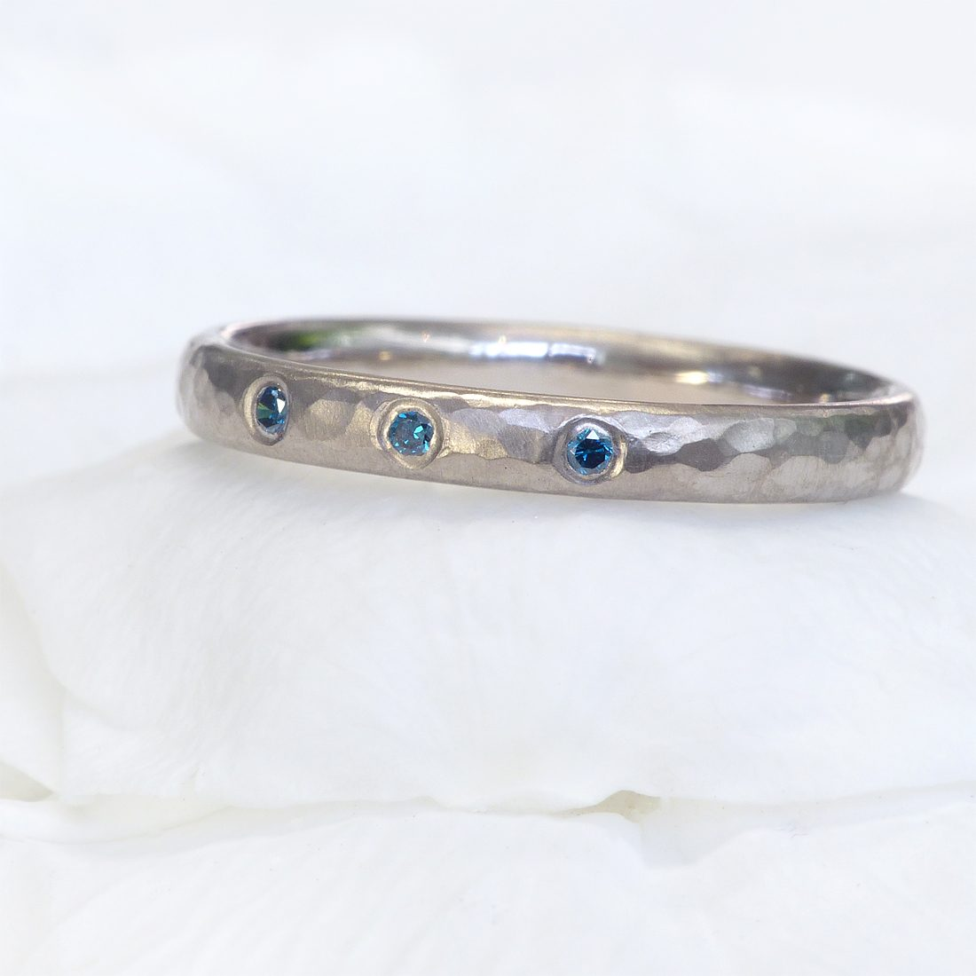 blue diamond hammered ring