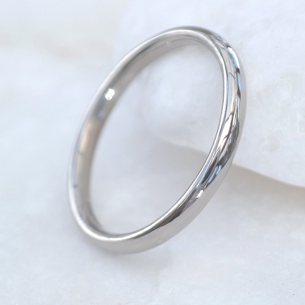 2mm Comfort Fit Wedding Ring in 18ct White Gold