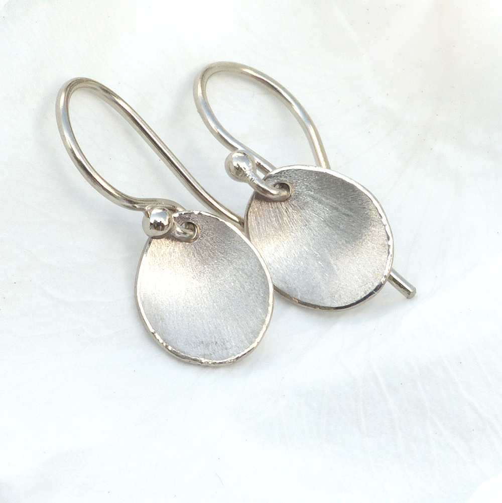 flower petal earrings in white gold