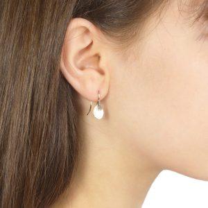 flower petal earrings in white gold