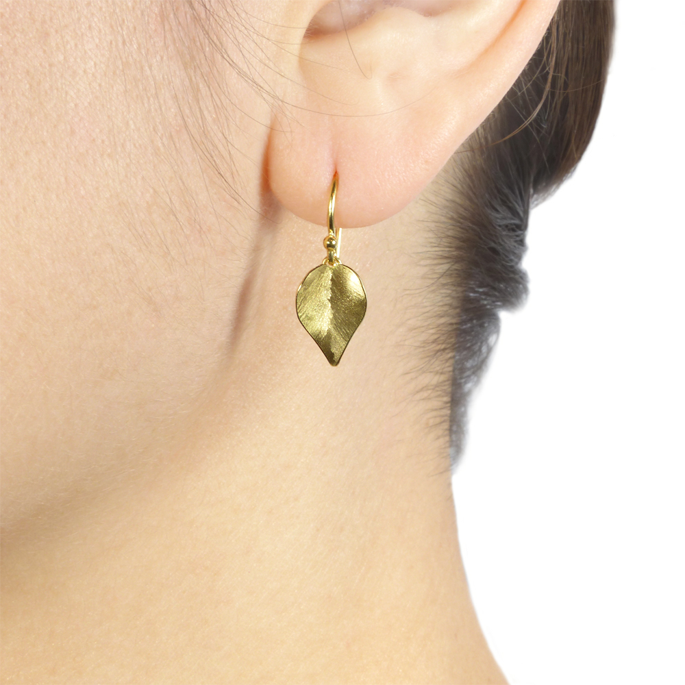 Leaf Earrings in 18ct Yellow Gold, in the ear.