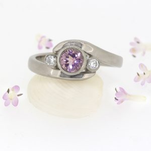 Morganite and Diamond Ring, Size L