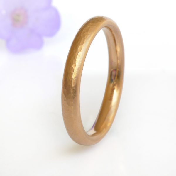 3mm Hammered Comfort Fit Wedding Ring