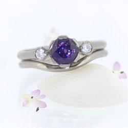 Purple Sapphire and Diamond Ring Set