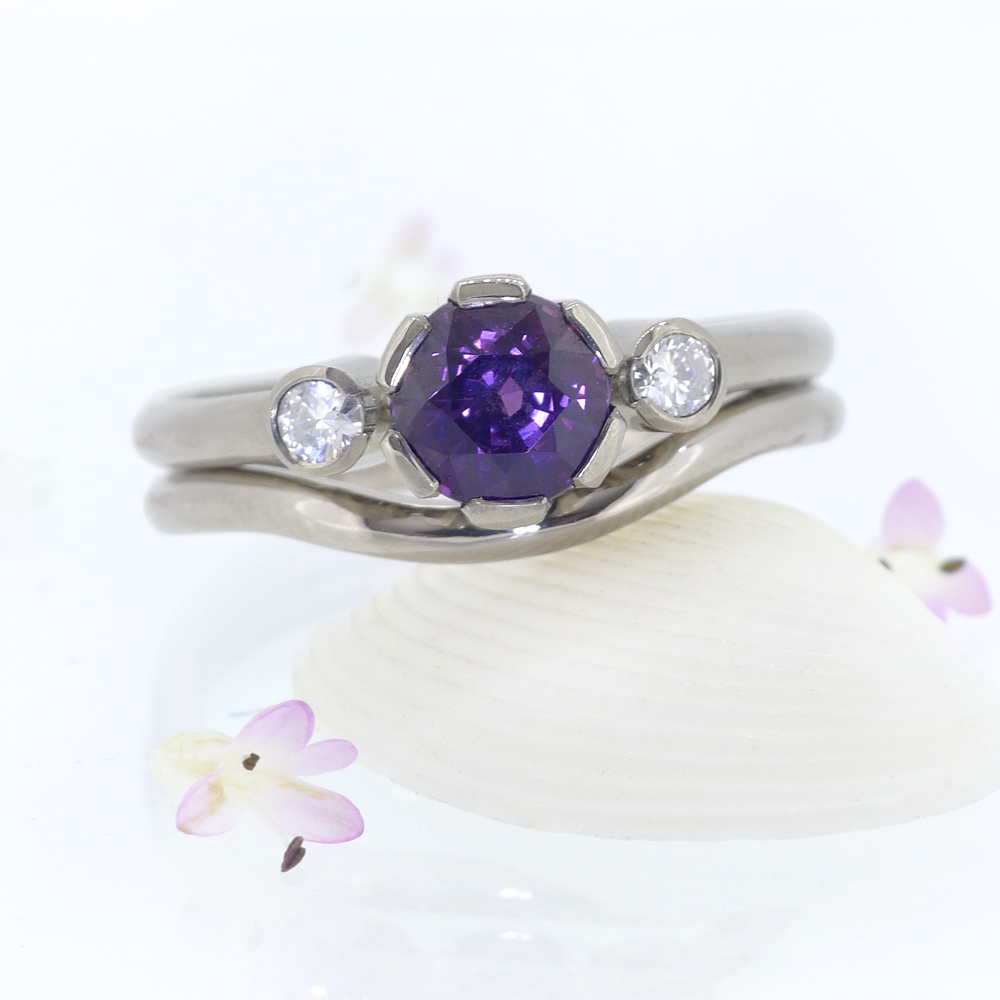 Purple sapphire and diamond ring set engagement ring for Sapphire wedding ring sets