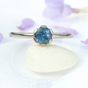 Ethical Blue Sapphire Engagement Ring in White Gold