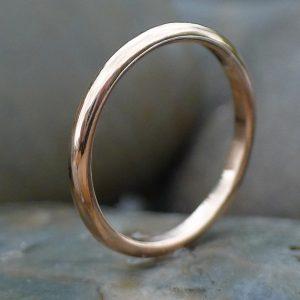 2mm wedding ring in 18ct rose gold