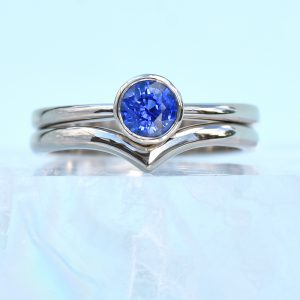 blue sapphire white gold stacking ring set