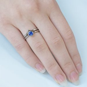 18ct white gold blue sapphire wedding & engagement ring set