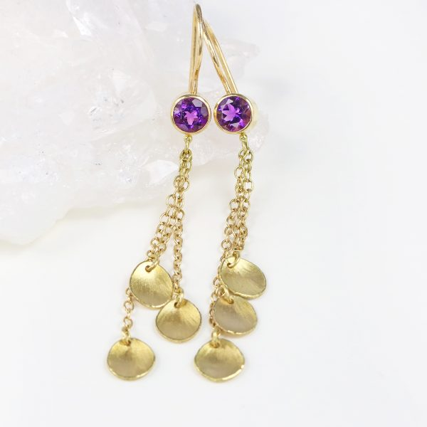 amethyst petal drop earring
